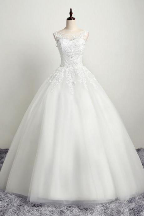 Sleeveless wedding dress white bridal dress formal wedding dress,Custom Made