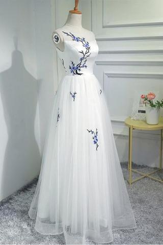 Simple Women Fashion White Embroidery prom dress Tulle Long Prom Evening Dresses,Custom Made