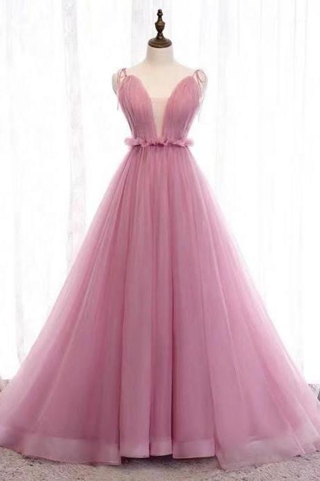 Pink party dress v neck evening dress spaghetti straps prom dress tulle long formal dress backless ball gown dress,Custom Made