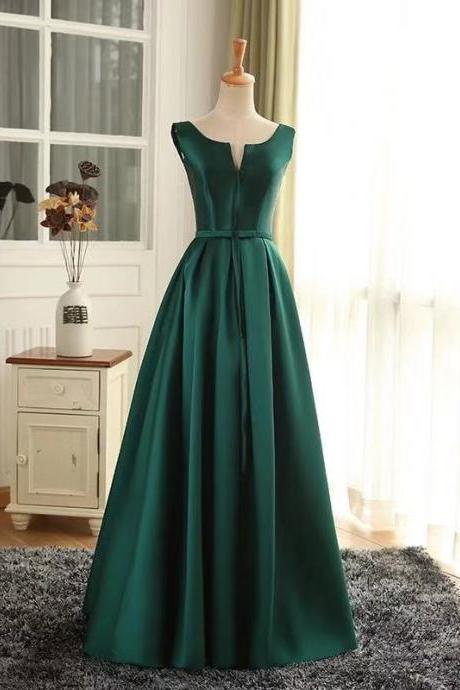 Green party dress sleeveless evening dress satin long prom dress v neck formal dress,Custom Made
