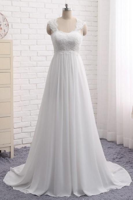 V-neck wedding dress simple illusion bridal dress chiffon A-line wedding dress,Custom Made