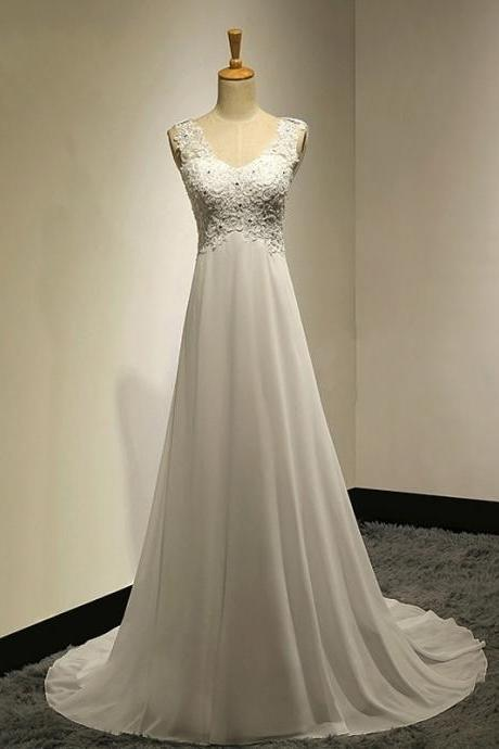 V-neck wedding dress simple bridal dress chiffon A-line wedding dress,Custom Made