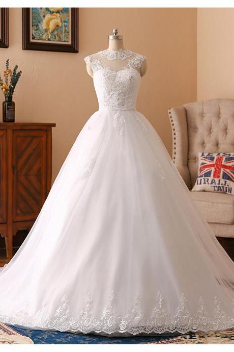 Sleeveless wedding dress white bridal dress lace wedding dress,Custom Made