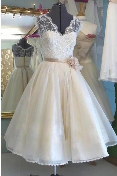 V-neck prom dress tulle party dress white homecoming dress,Custom Made