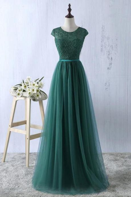 Cap sleeves prom dress dark green evening dress tulle party dress formal bridesmamaid dress,custom made