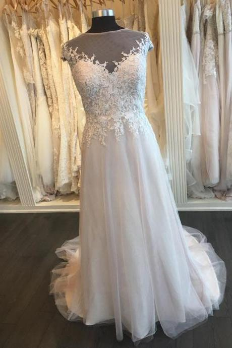 Lace Appliqued party dress, Scoop Neck Wedding Dress,Simple Bridal Gown,Beach Wedding Dress, Long Wedding Gown, Long Prom Dresses,Custom Made