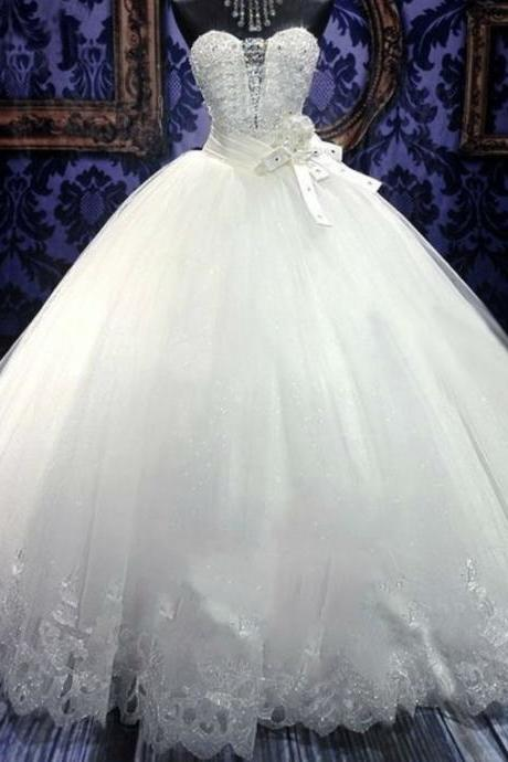 Strapless wedding dress ball gown wedding dress white bridal dress,custom made