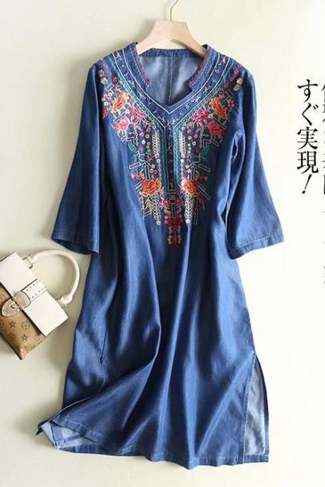 Women's wholesale new V-neck embroidered cuff pullover denim dress