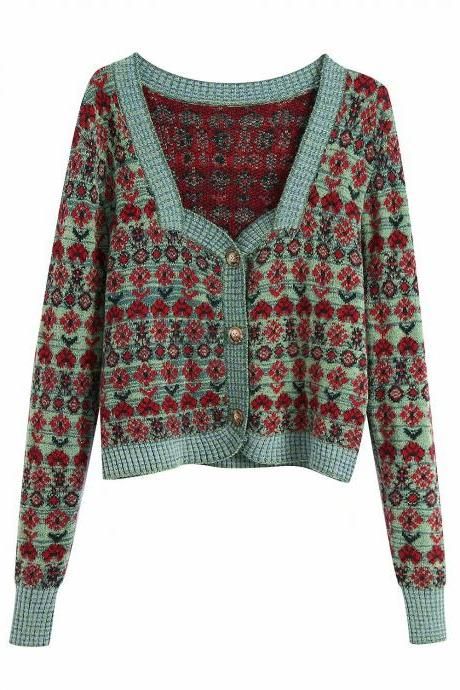Retro court style jacquard square collar design sense cardigan women slim short sweater coat
