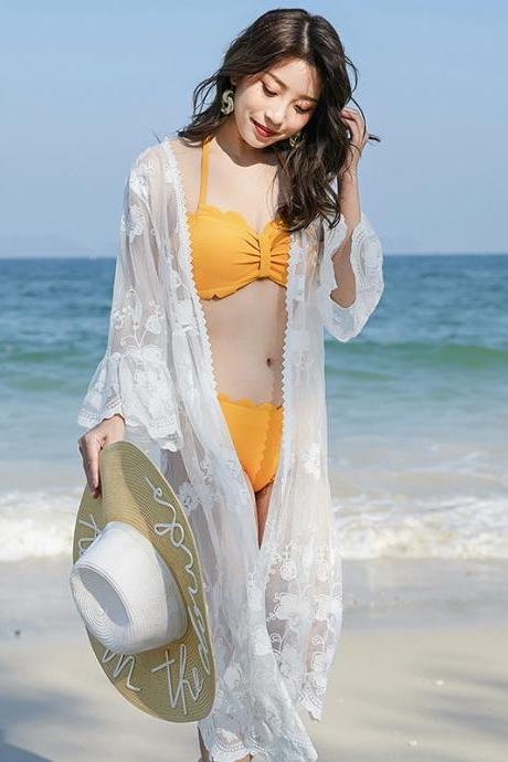 The new embroidered shawl thin coat seaside holiday beach sun protection dress lady medium long lace cardigan
