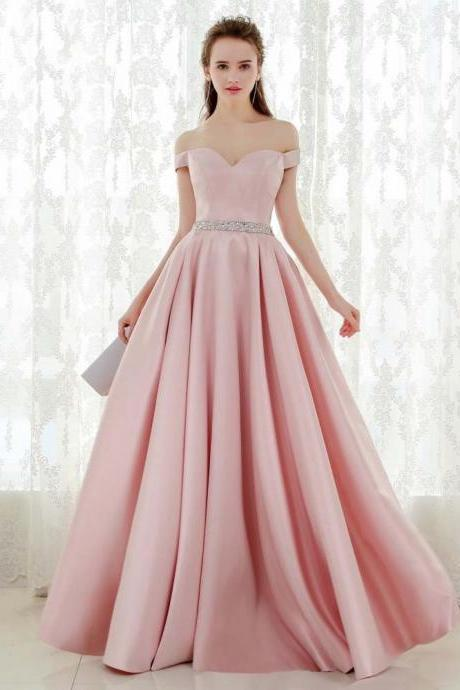 New fashion bridesmaid dress off shoulder length V-neck prom dress satin evening dress with slimming belly wedding banquet dress with beaded diamonds,custom made
