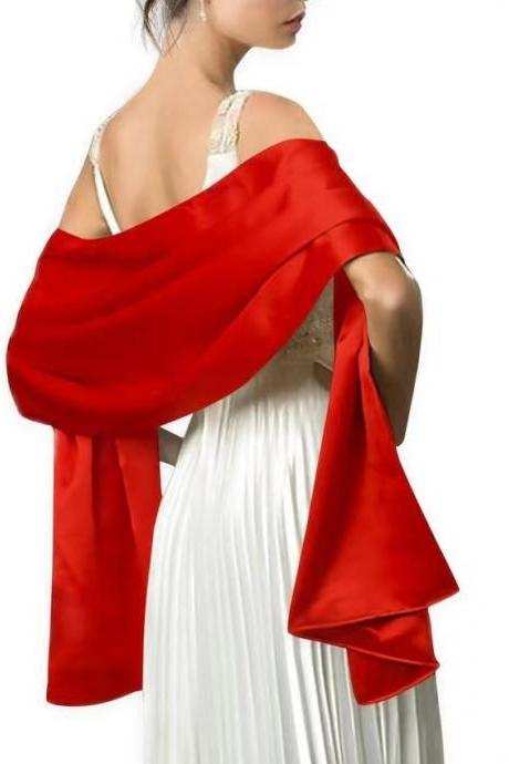 New fashion solid color evening dress shawl long color scarf decorative wedding dress cheongsam with satin monochromatic shawl