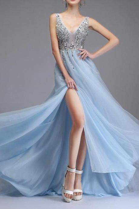 Sexy long dresses, trailing party gowns, deep V-neck evening gowns,custom made