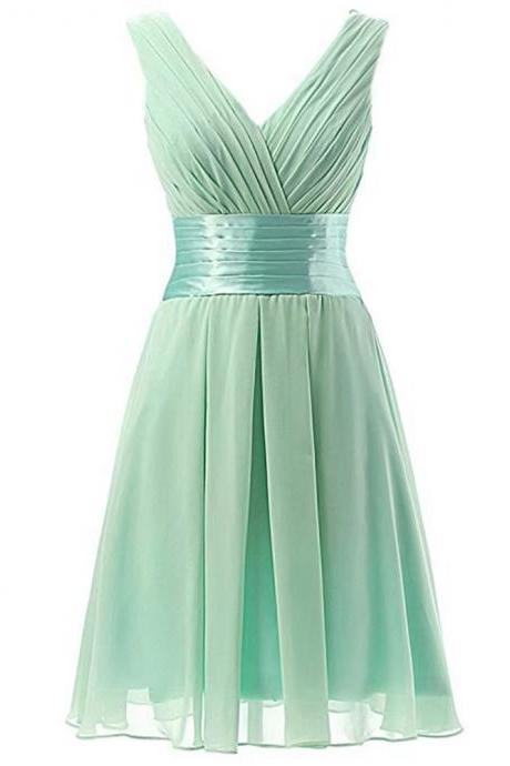 Bridesmaid Dresses, Short 2021 Fall Sisterhood Dresses, V-neck slim-fitting little dresses, Evening Dresses,Custom made