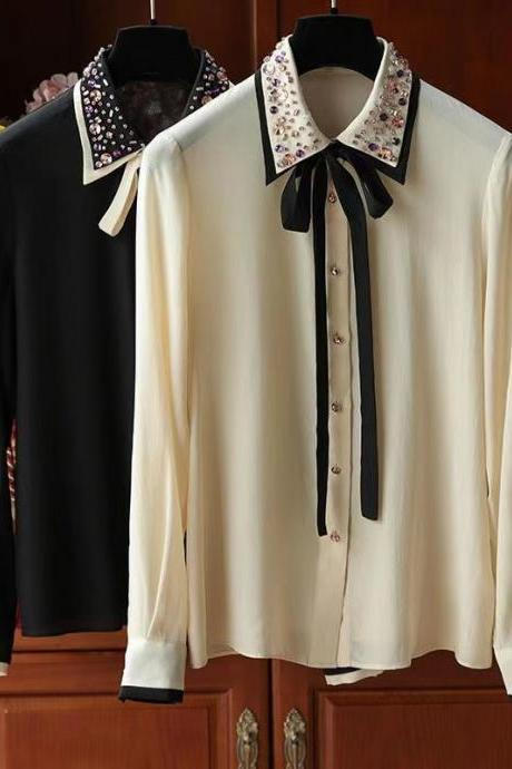 Realistic silk shirt, long sleeve mulberry silk shirt, new fashion style, high-end beaded top