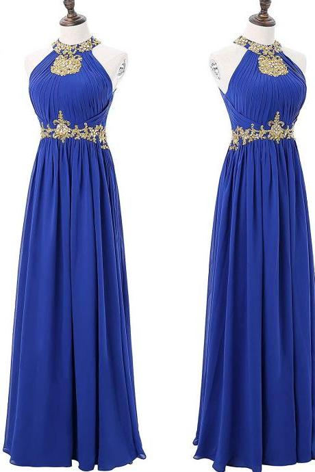 High neck beaded bridesmaid dresses, long evening dresses, chiffon prom dresses,custom made