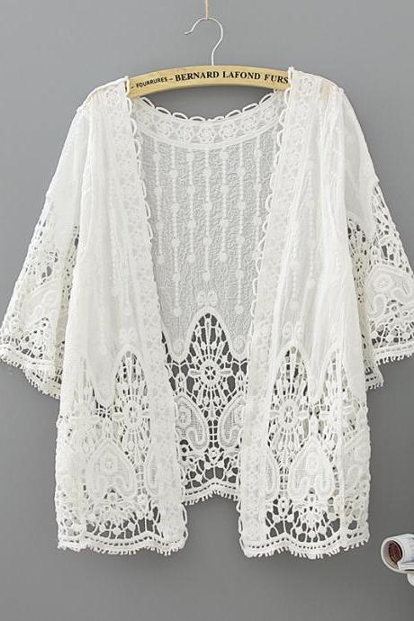 Summer Bohemian style, hook flower hollow-out, outside basic lace top