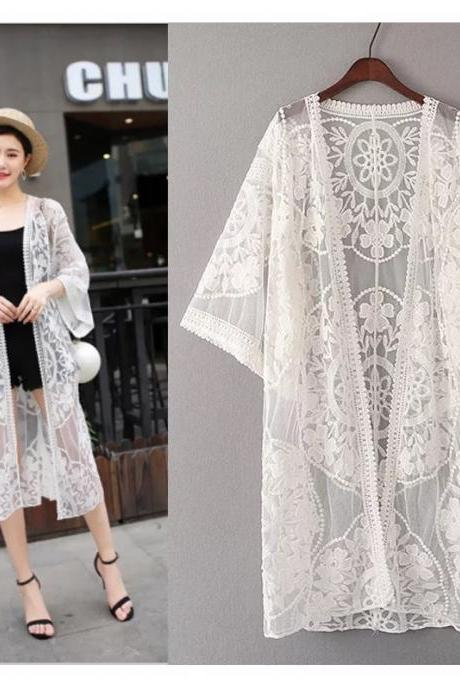 Hollow embroidery, loose large size lace cardigan, long beach vacation sun top, swimsuit coat shawl,kimono lace shirt