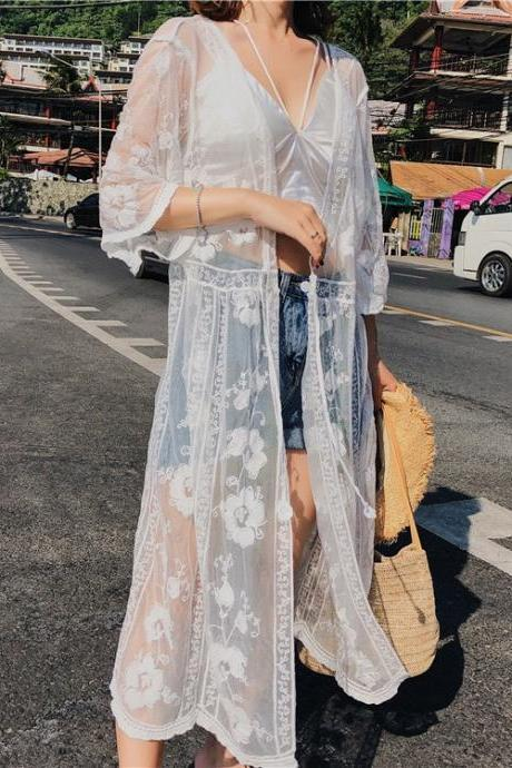 Embroidered lace, net gauze see-through, hollow-out with seven minute wide sleeves, medium and long sunblock cardigan