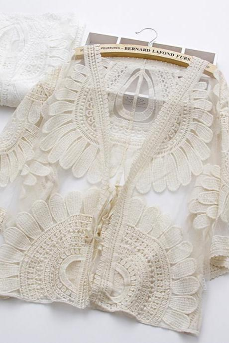 CHEAP SALES!Summer hollowout, embroidered cardigan, lace little top, hook flower hollowout long sleeve cardigan,