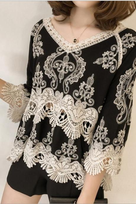CHEAP SALE!Summer lace base top, ethnic style loose, hollow out, V-neck pullover, embroidered top, cropped sleeves