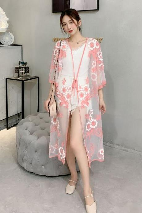 New thin coat, shawl sunscreen unlined upper garment, long colorful cotton embroidery, loose belt sunscreen kimono