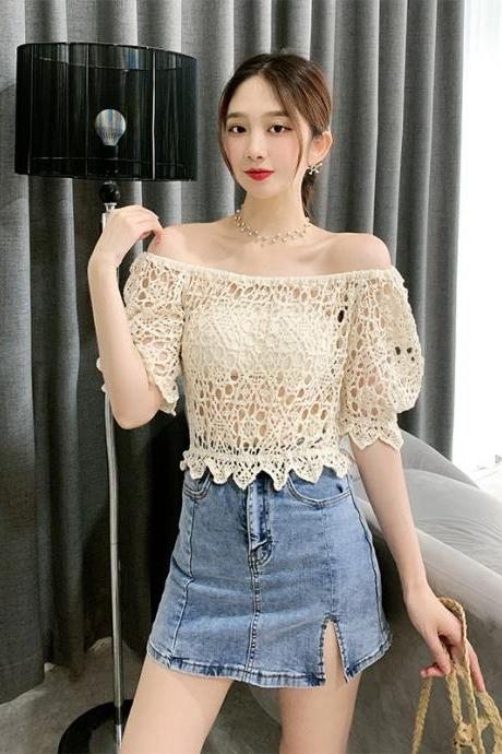 Sexy knit T-shirt, bubble sleeves, embroidery hollowout, off-the-shoulder top