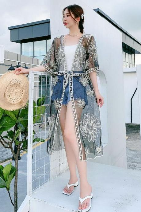 New style, beach shirt, beach kimono, lace embroidered cardigan,cover up