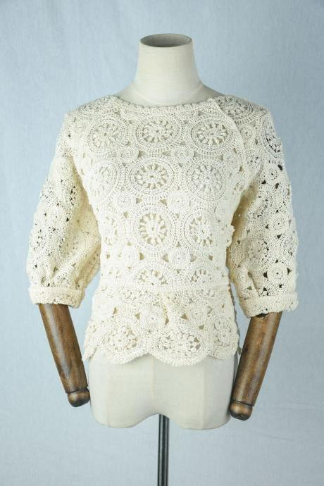 Hollow knit, new crochet, knitted short sleeves, loose and slim top
