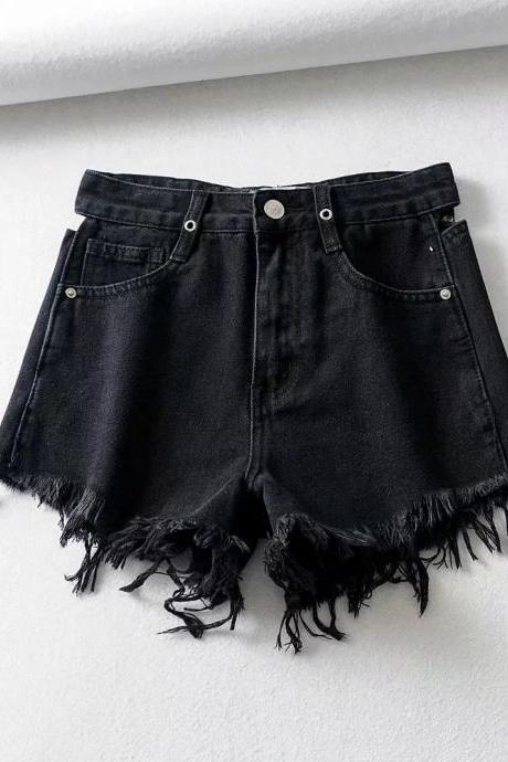 High waisted, hollow hot pants, fashion denim shorts, rough-cut jean shorts