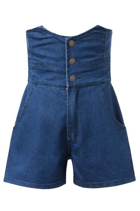 High waist, stretch ,comfortable,elastic waist, three button hot pants, jean shorts