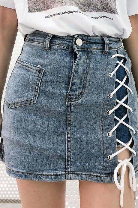Temperament, high waist, side lacing, stretch, hip wrap denim skirt