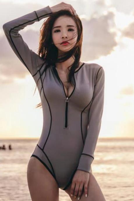 Grey one-piece, retro swimsuit, poly look slim, long-sleeve spa swimsuit