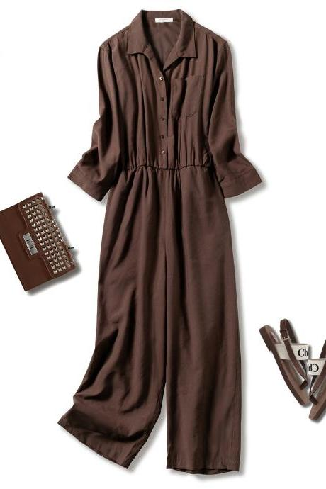 New pure linen, cargo jumpsuit, lady wide leg nine, cargo suit, loose casual jumpsuit