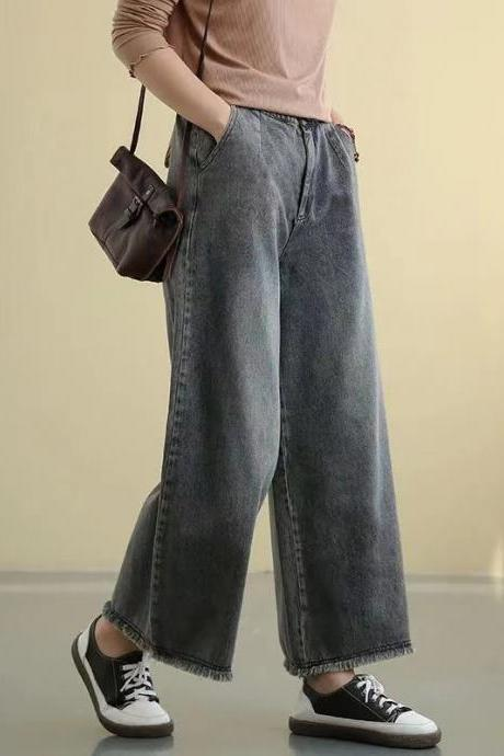 Spring and summer new style, high waist wide leg long pants, retro loose waist large size, straight leg jeans with rough edge
