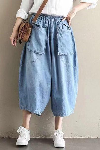 New jean cropped pants, baggy waist wide leg pants, loose baggy pants