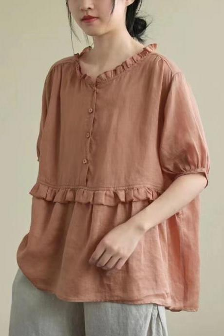 New style, art, vintage, cotton and linen shirt, loose, short sleeve, ear rim, pullover shirt,cheap sale