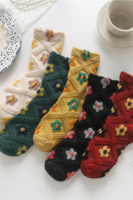 Hyun flowers, stockings, retro, art, diamond lattice lady socks