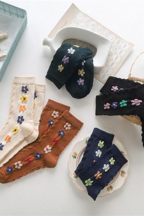 Hyun A color flowers, stockings, art retro, ladies spring and autumn socks