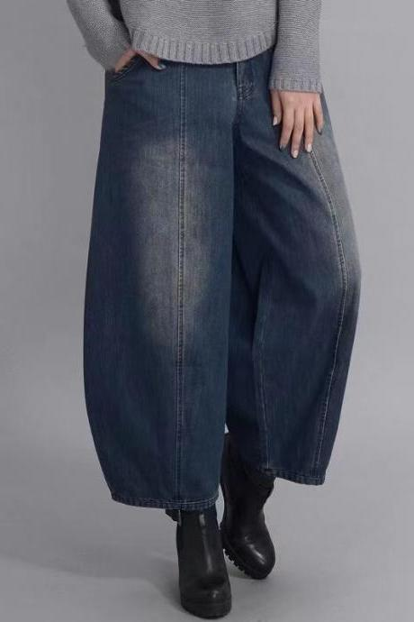New spring/summer style, casual wide-leg pants, cropped pants, high-waisted jeans, loose-fitting halan-radish bloomers