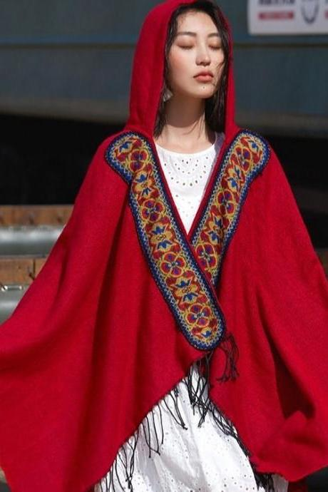 New style, red shawl, ethnic style hoodie, thickened, cape for vacation