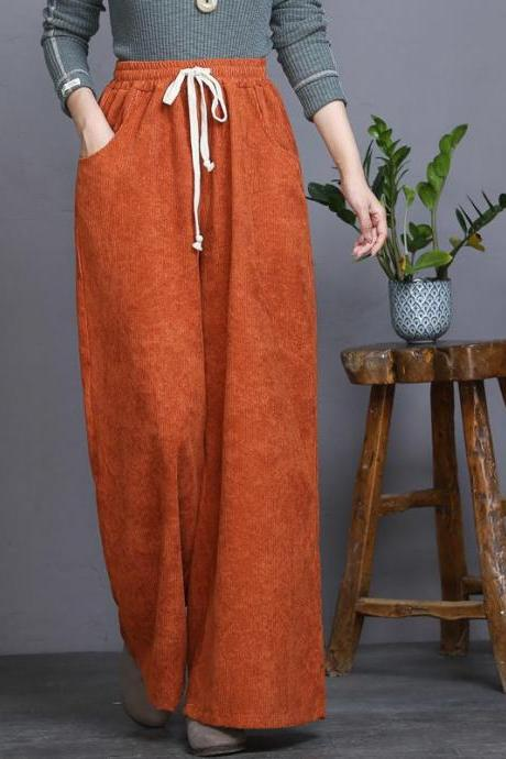 Spring and Autumn new style, corduroy, high waist, retro tie wide leg pants, casual pants, loose all-match straight trousers