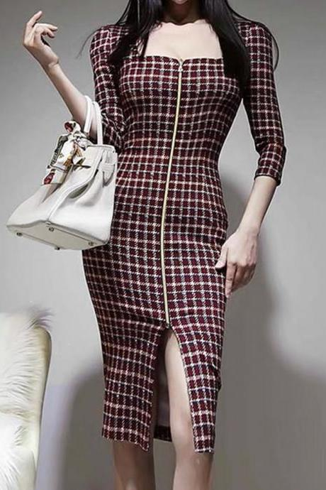 Socialite temperament, slim body in the long style, zipper split, plaid, hip wrap dress,CHEAP SALE