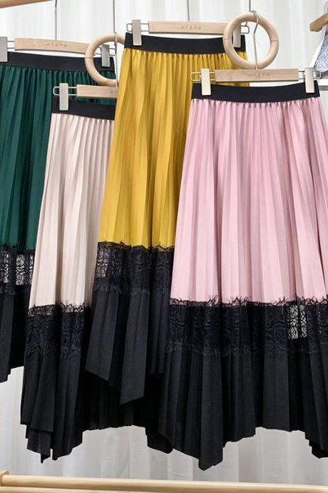 New skirt, lace splicing collision color pleated skirt, medium and long high waist, drape feeling big skirt arranged A-line skirt