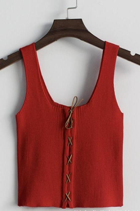 Spring and summer new style, solid color cross tie rope, knit sleeveless vest, crop top,CHEAP ON SALE