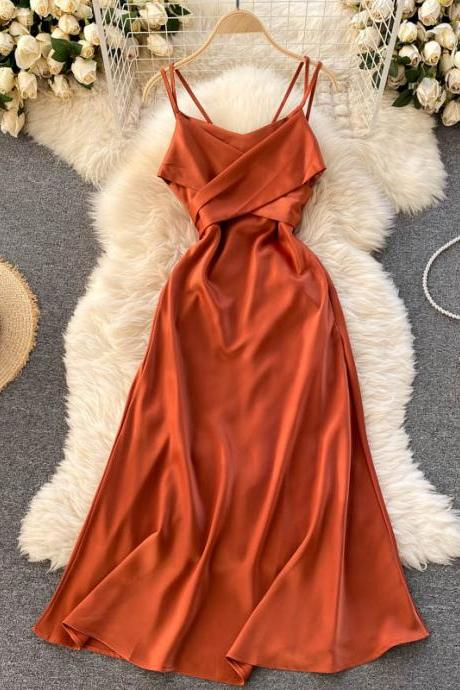 Holiday travel , high sense dress, cross V-neck sexy ,spaghetti strap prom dress