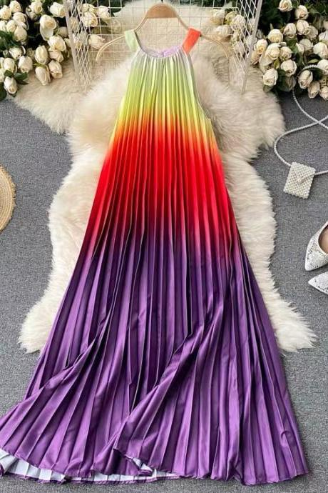 Holiday shoot, web celebrity style dress, round neck, rainbow gradient, pleated dress