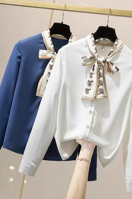 Large size, new spring style, ribbon chiffon blouse,offices