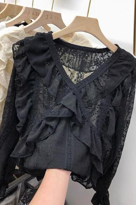 Black lace chiffon, long sleeves, spring style, loose, v-neck top with flounces