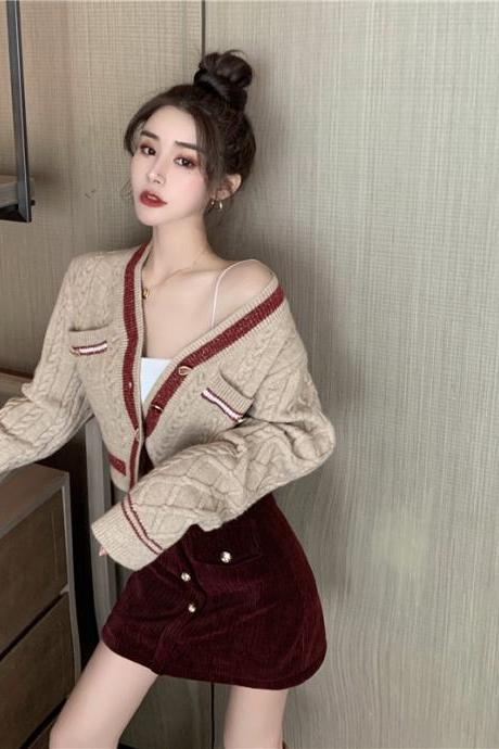 Knitted cardigan, spring and autumn, button high waist short sweater